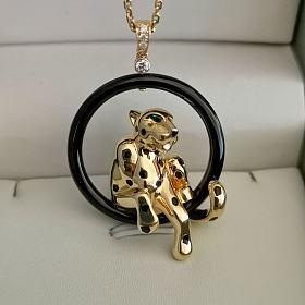 低价转让20.84克18K金豹子钻石项链,12.4克钻石白贝母蛇戒(已出)