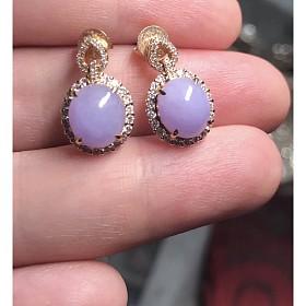 紫翡蛋面镶钻耳坠