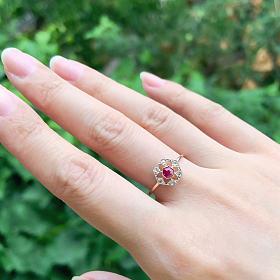 13码古董蕾丝戒指 9k金嵌红宝石和钻石
