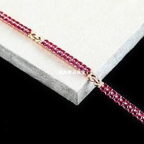手工款18k玫瑰金红宝石钻石手镯式手链