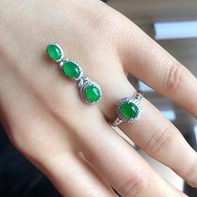 18k金钻镶豪镶冰种阳绿翡翠吊坠戒指有证书