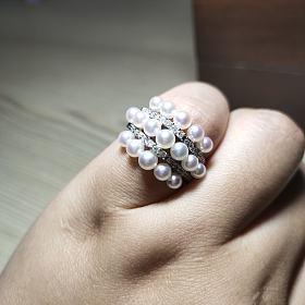 降价!日本专柜品质精工极品天女akoya珍珠配钻戒指
