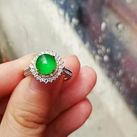 降价啦!绿眼睛高冰阳绿戒指