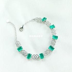 18k白金钻石天然素面祖母绿手链