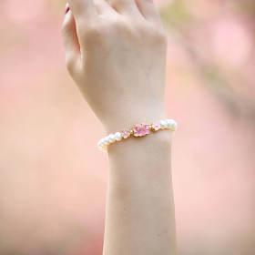 珍珠手链天然青金石,粉水晶,蔷薇辉石荷花手链