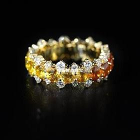 18K黄金镶嵌彩色蓝宝石指环