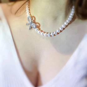天然淡水彩色和纯白大珍珠项链颈链起光