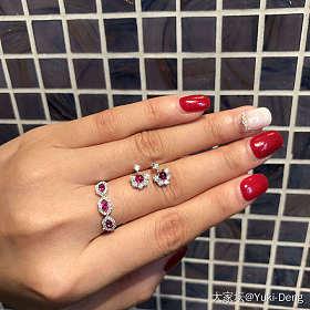 缅甸红宝石钻石18k白金戒指12号-情人锁设计