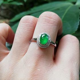 冰种小精品绿蛋戒指