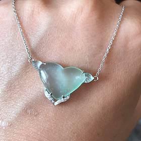 玻璃种爱心锁骨链