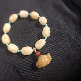 白蜜随形搭配把把壶手串原矿绿松石南红配珠