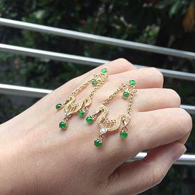 18k金钻石翡翠绿蛋耳环
