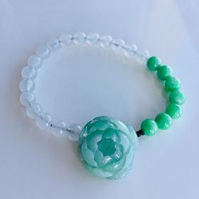 阳绿白冰翡翠牡丹花手链
