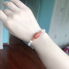 18k纯金珠天然淡水珍珠南红手链