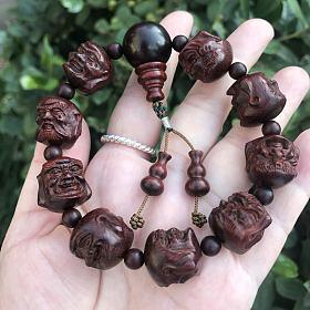十八罗汉18MM小叶紫檀一珠双罗汉造型手串