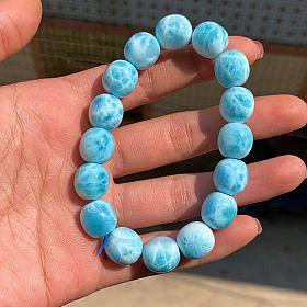 海纹石拉利玛龟纹老型珠手链11.5mm多米尼加深邃海水蓝心形吊坠彩宝国石消磁