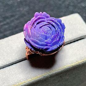 舒俱来苏纪石戒面牡丹花雕刻樱花粉星际蓝皇家紫配色镶嵌925银材质18k金玫瑰金托