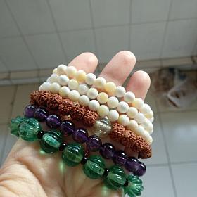 紫水晶 金刚琉璃 老琉璃南瓜珠手链