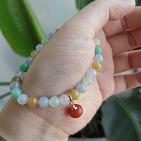 天然翡翠珠子手串糖果色手链