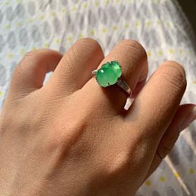 冰阳绿貔貅金蟾戒指