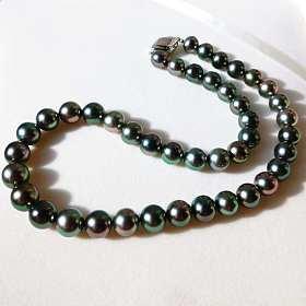 简直白捡绝美天然大溪地炫彩孔雀绿黑珍珠项链8-11mm