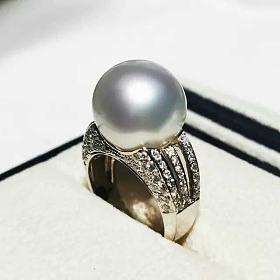 日本精工15-16mm冷光澳白戒指正圆无瑕18k金满钻豪镶丝绸光