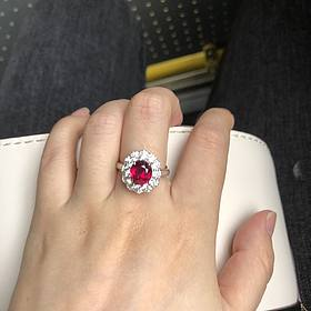 三克拉无烧鸽血红红宝石钻石两用款吊坠戒指