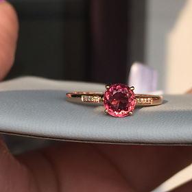 18k金碧玺钻石戒指有证书碧玺90分钻石2.4分