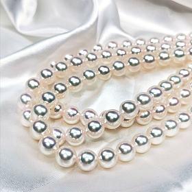 特选珠品质akoya海水珍珠项链8.5-9mm 无调色极光,开完证几万一条。