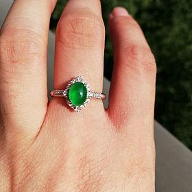 冰玻种阳绿戒指