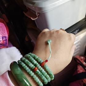 飘绿翡翠盘珠长链多圈手链/项链/毛衣链