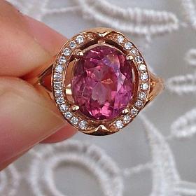 粉碧玺戒指 18k玫瑰金钻石镶嵌