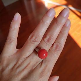 重金镶钻大红珊瑚珠戒指