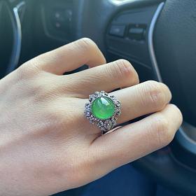木那冰阳绿起光正圆10mm蕾丝黑金豪镶戒指