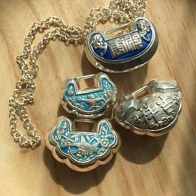 【足银烧蓝锁】山西老银风格滴...新品