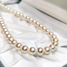 5A++仅供出口极光淡水珍珠项链7.5-8.5mm正圆无瑕和akoya彩凛珠比色