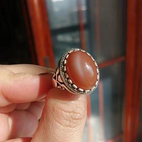 印度橙月光泰银戒指80包邮