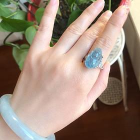 天然冰种海蓝宝貔貅925银镶戒指招财辟邪