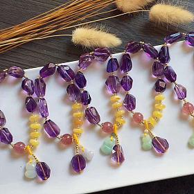 高品质玻璃体紫水晶随形手链手工定制DIY,蜜蜡隔片小葫芦吊坠翡翠挂件饰品手链