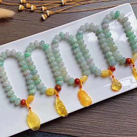 A货翡翠瓜珠手链搭配南红蜜蜡9.5mm尺寸,优雅精致单圈吊坠福豆水滴羽毛蜜蜡金珀