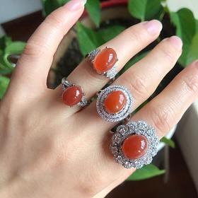 天然925银镶南红戒指