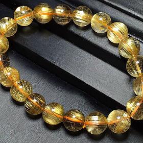 巴西水晶金发晶钛晶顺发9.8mm手链成色超好黄金首饰招财貔貅挂件翡翠戒指手镯升值