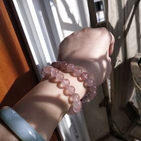 超级温柔的南红冰飘粉紫手链