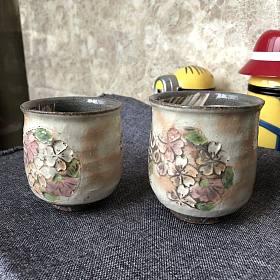 出一对日本京都清水烧樱花手工陶瓷杯 自刀400出!!