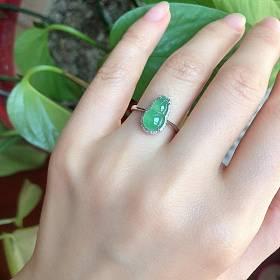18K金南非真钻镶冰种翡翠葫芦戒指有证书