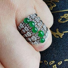 小绿蛋蕾丝戒指一手