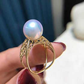 11-12mm正圆几乎无暇极光爱迪生珍珠 网格戒指