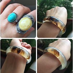 打包出手工银绿松戒指+手工银俄料蜜蜡戒指+风景玉髓手镯