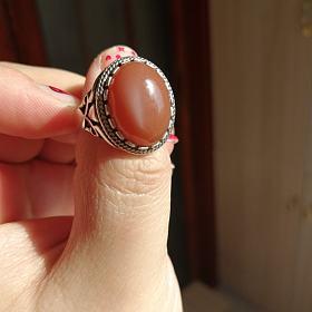 印度橙色月光石戒指