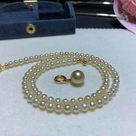 一款四戴 4.5-5mm日本akoya海水珍珠项链天然色香槟金